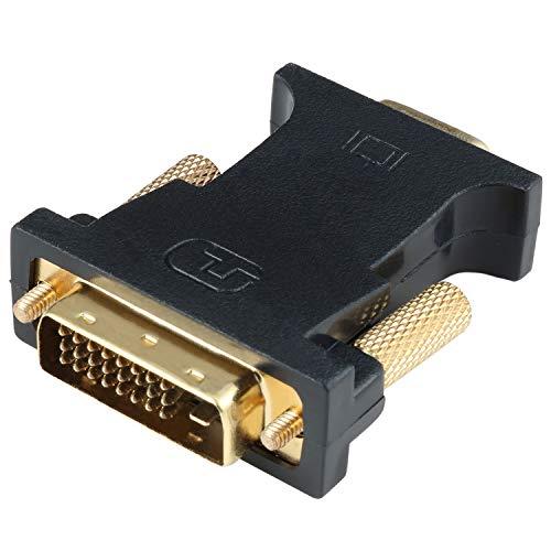 HYZUO DVI auf VGA Adapter Aktiv DVI-D Dual Link 24 + 1 Stecker auf VGA Buchse Chip Kabel Konverter für PC DVD Monitor HDTV Projektoren