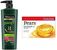 TRESemme Botanique Nourish and Replenish Shampoo, 580ml & Pears Pure And Gentle Soap Bar, 125g (Pack Of 3)
