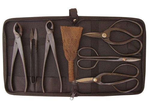 Bonsaiwerkzeugset II, schwarz, 7teilig plus praktischer Werkzeugtasche