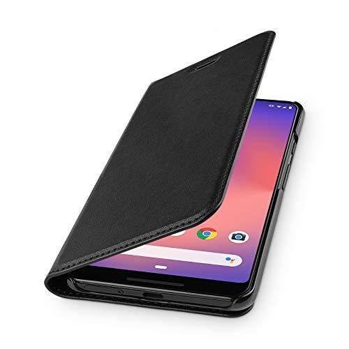 WIIUKA Echt Ledertasche -TRAVEL- für Google Pixel 3 XL, mit Kartenfach, extra Dünn, Tasche Schwarz Premium Design Leder Hülle