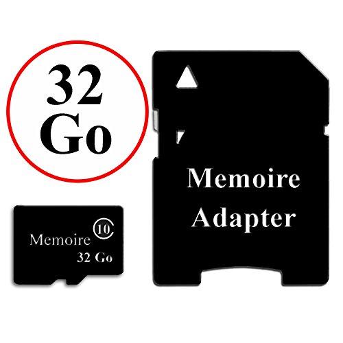 Carte Mémoire au format Micro-SD 32 Go classe 10 + Adaptateur pour Wiko Lenny 2 by PH26®