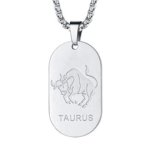 FaithHeart Dog Tag Damen 12 Sternzeichen-Serie der Stier 316L Stahl- Damen-Ketten Silber Sterling 925 Farbe mit Tierkreiszeichen Hergestellt Anhänger