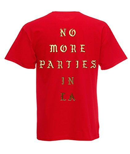 TRVPPY Herren T-Shirt NO MORE PARTIES IN LA in vielen versch. Farben mit Rücken -und Brustaufdruck, Gr. S-5XL Gold-Rot