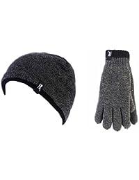 Men's Heat Holders Tog Contrast Trim Heat Weaver Winter Warm Thermal Beanie Hat & Gloves Set
