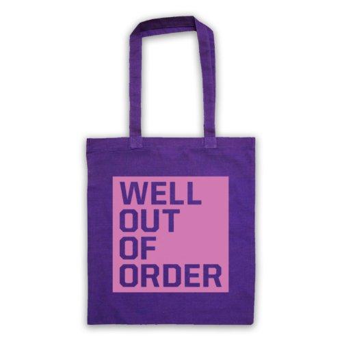 """Bene, Out Of Order """", scritta con Slogan divertente Borsa Viola"""