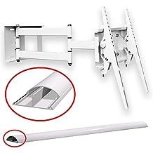 Soporte de pared abatible para televisión, color blanco, con canal de cable, inclinación, TV hasta 55pulgadas