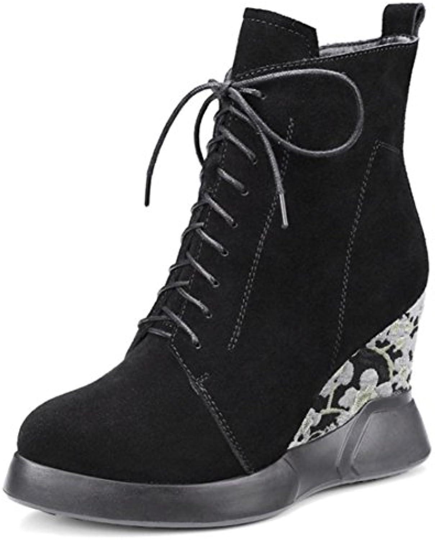 Best 4U® Scarpe da da da donna Stivali scamosciati invernali in camoscio Scarpe col tacco con zeppa Stivali con tacco... | bello  a7d617