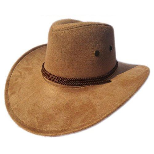 Fascigirl Cowboy Hut, Breiter Krempe Hut KüNstliche Wildleder Western Cowboy KostüM Hut füR MäNner (Männer Cowboy Für Kostüm)