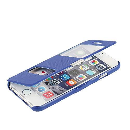 MTRONX für Apple iPhone 6s Hülle, iPhone 6 Hülle, Dual Fenster-Ansicht Magnetisch Schutzhülle Tasche Etui Klapphülle Twill PU Leder Dünn Folio Flip Case Cover - Blau(MG2-BU) (Iphone 6 Wallet Schieben)