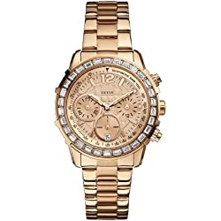 W0016L5 Guess Women's Quartz Analogue Watch-Pink Face-Pink Steel Bracelet