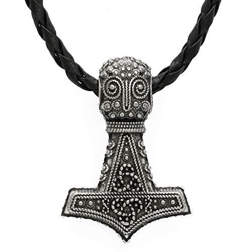 Handgemachte Nordische Piraten Männer Wikinger Amulett Odin Gesicht Mit Raven Thor Hammer Halskette Knoten Anhänger Retro Mode Herren Halskette Zubehör -
