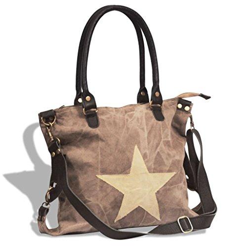 Borsa shopper in vera pelle e tela grigio scuro con grossa stella Marrone