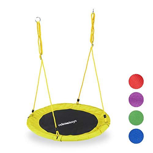 Relaxdays Unisex- Erwachsene Nestschaukel, rund, für Kinder & Erwachsene, verstellbar, Ø 90 cm, Garten Tellerschaukel, bis 100 kg, gelb, H x D: ca. 5 x 90 cm