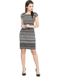 Marie Lucent Black and White Bodycon Dress in Cotton Fabric with Cap Sleeve
