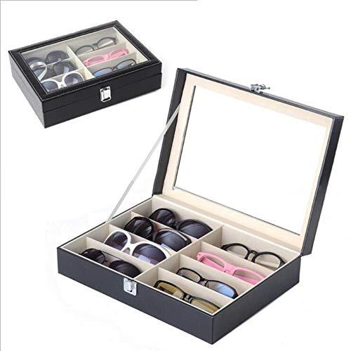 HOMEDAI Schmuckkästchen Leder Transparent Brille Display Stand Sonnenbrille Display Box Aufbewahrungsbox Sammelbox Uhr Schmuckschatulle,Black