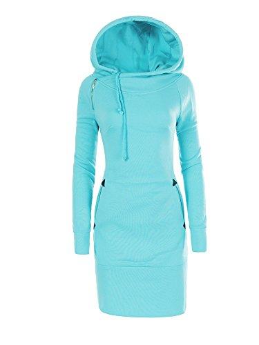 N490 Damen Kaputzenpullover Mantel Pullover Kapuze Hoodie Sweatshirt Hoody, Farben:Türkis;Größen:S