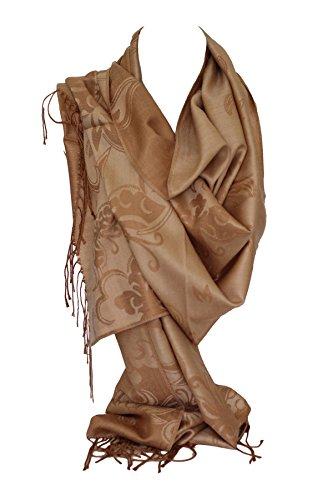 Bullahshah Qualität zwei doppelseitigen Druck selbst geprägte Pashmina Fühlen Wrap Schal Stola Schal (Beige Schmetterling)
