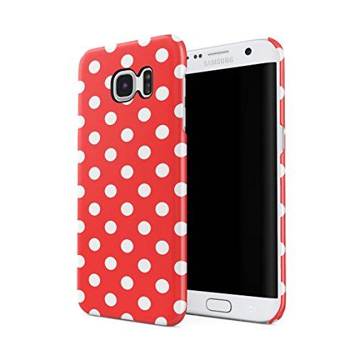Crimson Red Polka Dots Pattern Dünne Rückschale aus Hartplastik für Samsung Galaxy S7 Edge Handy Hülle Schutzhülle Slim Fit Case cover (Cover Red Dot)