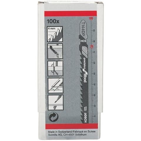 Bosch 2608633A42 - Lama per seghetto da traforo, T 144 DP, Precision for Wood, T 144 DP HCS, allicciata, rettificata legno morbido, pannelli di particelle, pannelli in paniforte, pannelli di fibre (5 - 50 mm), porte, piani di lavoro (<50 mm), 100 pezzi