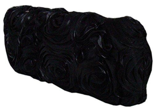 Damen Blüten Tasche Clutch-Tasche Brauttasche Handtasche Unterarmtasche in Schwarz