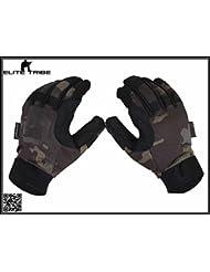 caza guantes de combate dedo completa guantes tácticos ligero Multicam Black (S)