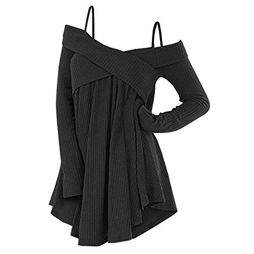 Rosegal Frauen Kalt Schulter Langarm Crossover Sweater Strickpullover Tunika Top (2XL, SCHWARZ)