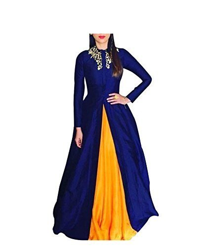 Marvadi Collections Women\'s Cotton Gown (liril_blue&yellowFree Size)