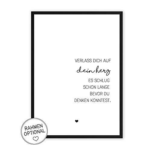 Verlass dich auf dein Herz - Kunstdruck auf wunderbarem Hahnemühle Papier DIN A4 -ohne Rahmen- schwarz-weißes Bild Poster zur Deko im Büro/Wohnung/als Geschenk Mitbringsel zum Geburtstag etc. (Schwarz Und Herz Weiß)