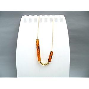 Bernstein Vierkant Bakelit Kugelkette Keramik Gold Geometrie Halskette in Geschenkbox