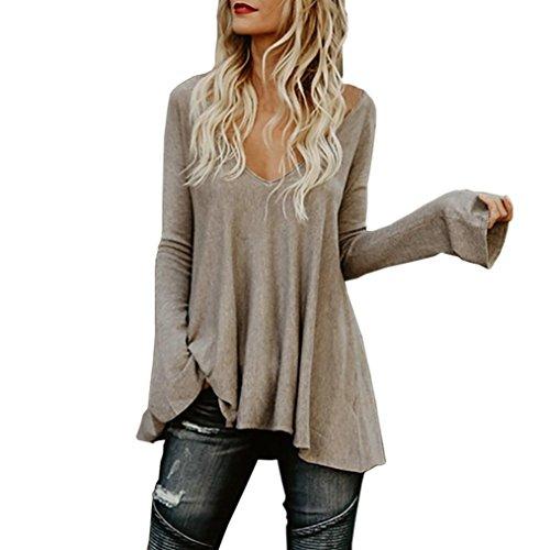 TWIFER Damen Loose Deep-V Hem Falten T-Shirt, Langarm Pullover Solid Bluse Tops (Satin Seide Pullover)