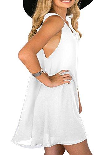 Minetom Donne Ragazze Moda Estate Beach Sexy Collo Deep V Abito Asimmetrico Orlare A-Line Vestito Corto Mini Dress Bianco