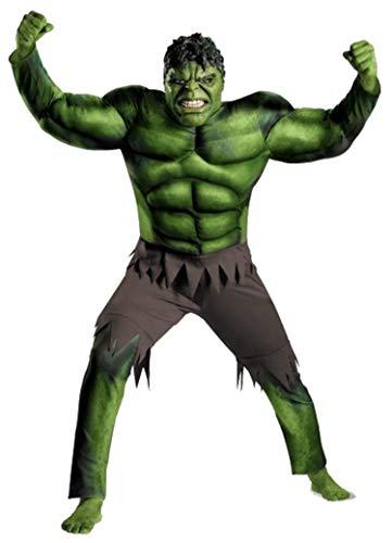 PICCOLI MONELLI Kostüm Hulk Kinder Super Eroi Kleid Herren grün Karneval Warm mit Muskeln 7-10 anni Altezza Bimbo 120-130 grün