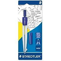 Staedtler 55050BK Compás escolar con caja de minas, azul/plata