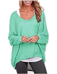 Pull en Tricot Femme Sweater Chandail Sans Epaule Off Baggy Casual Lâche  Automne Jumper T-shirt Manche Chauve-souris Longues Chemisier… faa5ba846521
