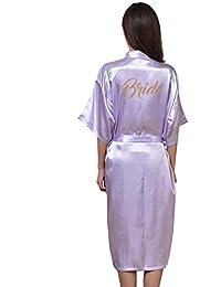 WYSMOL Novia Estampado en Caliente Ropa de Dormir Sexy Batas y Kimonos de Satén