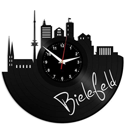 EVEVO Bielefeld Wanduhr Vinyl Schallplatte Retro-Uhr groß Uhren Style Raum Home Dekorationen Tolles Geschenk Wanduhr Bielefeld