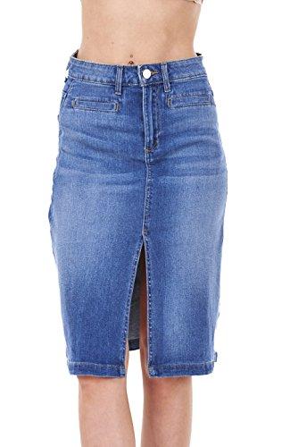 Ladies-Quality-Denim-Skirt-Blue-Split-Knee-Length-Pockets-Stretch-Cotton