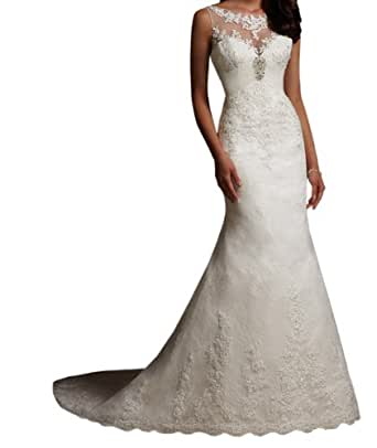 Jeen Wedding Dress Elegant Beaded Appliques on Lace For Womens Ivory Customer size