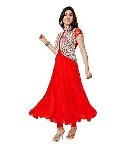 Mannat Fashion Women's Georgette Dress Material (MF(RED PANKHUDI 123)_Free Size_Red)