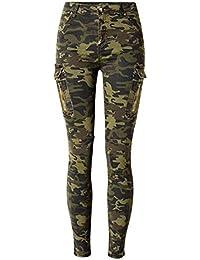 80Store Mujeres Hot Camuflaje Estiramiento Jeans Flaco Pantalones Vaqueros Pantalones Verde Ejército
