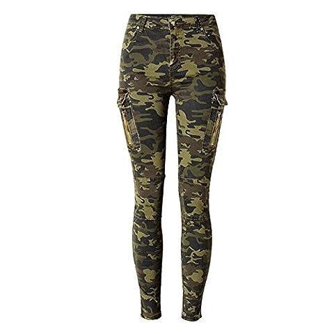 80Store Femmes Hot Sexy Camouflage Stretch Militaire Jeans Denim Skinny Pantalon Pantalon Army Green (L)