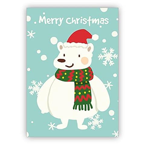 Weihnachtskarte mit Eisbär im Schneegestöber: Merry Christmas - auch schön als Weihnachtsgrüße geschäftlich an Firmen, Mitarbeiter und Unternehmen