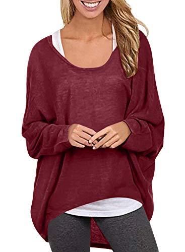 Yidarton Frauen Asymmetrisch Langarm Pullover Pulli Strickjacke Oversized Baggy Lose Jumper T-Shirt Tops Bluse (XXL, Z-Wein Rot)