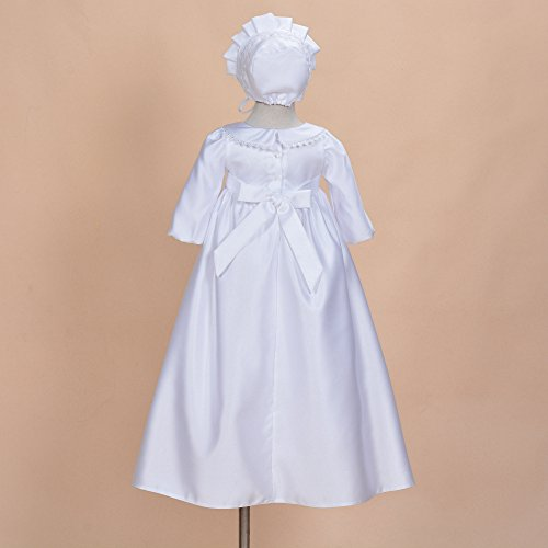 Cinda Traditionelle Baby-Satin Langarm Taufkleid und Motorhaube Weiß 56-62 - 2