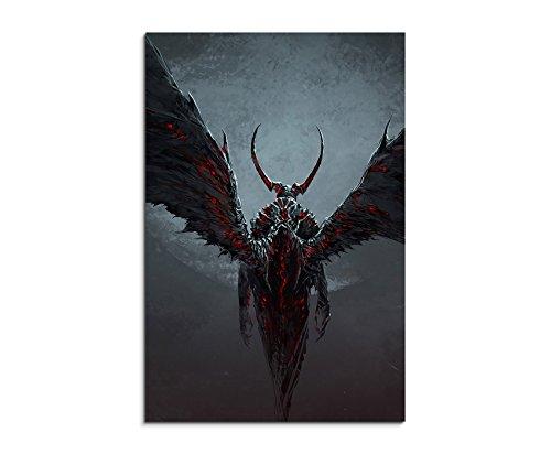 90 x 60 cm Demon_With_Wings_Fantasy_Art_ wandbilder su telaio - stampa artistica come quadro. Bill alette come un olio! Attenzione non Poster oppure Poster!