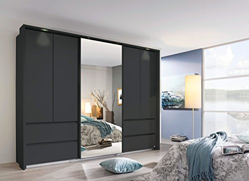 Kleiderschrank, Schlafzimmerschrank, Wäscheschrank, Schwebetürenschrank, Dielenschrank, 5-türig, Schubladen, grau-metallic, Spiegel