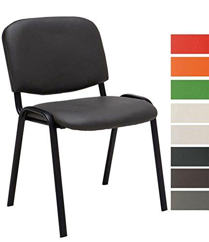CLP Besucher-Stuhl stapelbar / Stapel-Stuhl KEN Kunstleder, preiswert, robust, bequem Grau
