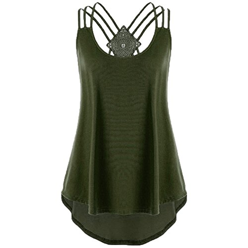 Tops Sale Womens Einfarbig V-Ausschnitt zurück Cross Strap lose beiläufige ärmellose Tank Shirt Bluse ()