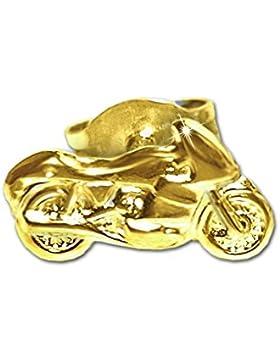 CLEVER SCHMUCK Goldener einzelner Single Ohrstecker Motorrad 9 x 5 mm nach rechts fahrend glänzend 333 GOLD 8...