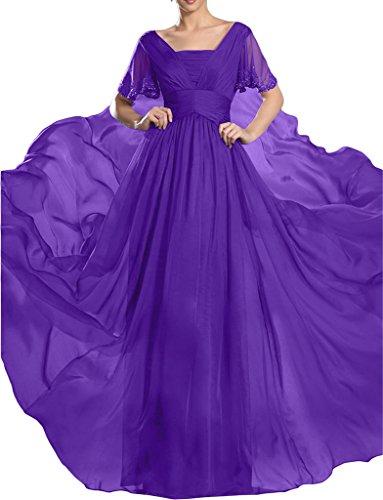 ivyd ressing-di alta qualità donna giromanica pietre a linea Chiffon Party Festa Prom abito abito sera vestito Violett